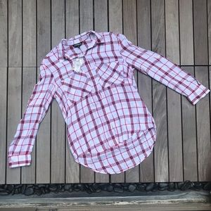 Express | Red White Plaid Long Sleeve Button Down